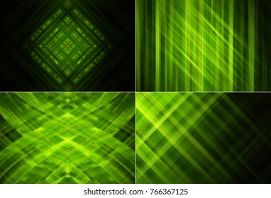 Collection of green Illustration. Four abstract background.