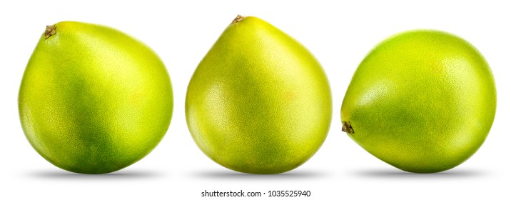 Collection of green pomelo citrus fruit isolated on white background