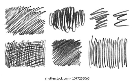 Collection of grunge graphite pencil textures, isolated on white background