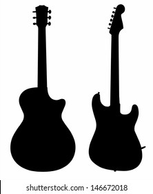 collection of guitars electric acoustic silhouette