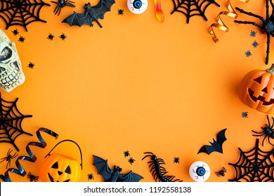 Collection of Halloween party objects forming a frame
