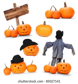 Collection of Halloween pumpkins and symbols