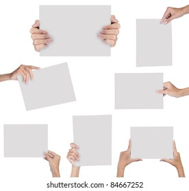 collection of hand holding blank paper isolated on white background
