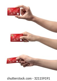 Collection of hand holding credit card isolated over white background