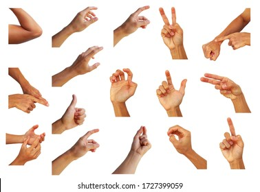 collection hand multiple of man in gesture on white background