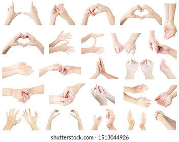 collection hand multiple set of Both hands, both left hand and right hand in gestures isolated on white background