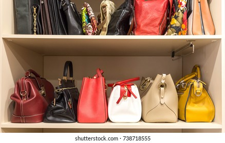 Collection of handbags in woman`s closet