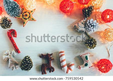 Collection Handicraft Christmas Ornaments Rattan Light Stock Photo