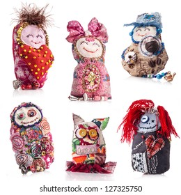 Collection of Handmade rag doll isolated on white background