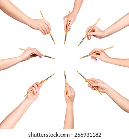 collection of a lot of hands with brush isolated on white background