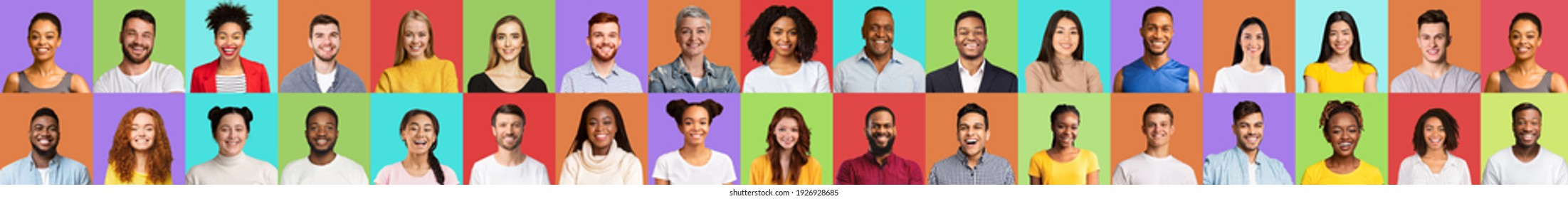 Collection Of Happy Millennial People Faces, Diverse Portraits Collage Of Young Men And Women Of Different Ethnicity And Age Smiling Posing On Colorful Studio Backgrounds. Panorama