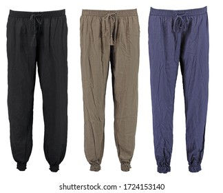 Collection harem pants. High cut harem pants. Set. Isolated image on a white background.