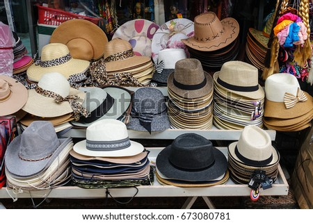 0f490d89 Collection Hats Sale On Market Stall Stock Photo (Edit Now ...