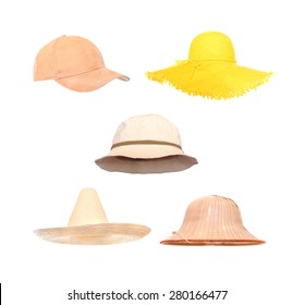 Collection of headwear for summer activities. Hats in position for easy  face insert. 5dbb651d888b