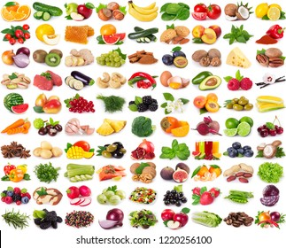 collection of healthy food isolated on white background
