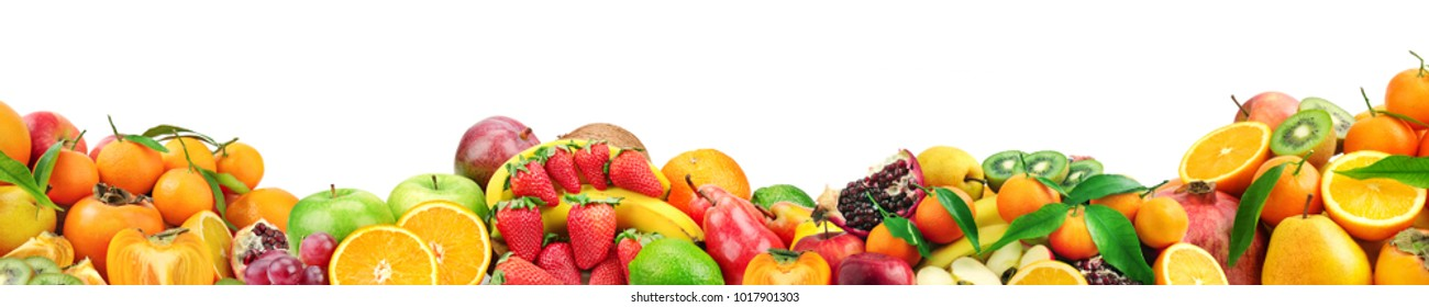 Collection healthy fruits for project isolated on white background. Free space for text.