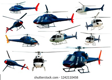 Collection of helicopters flying isolated on white background
