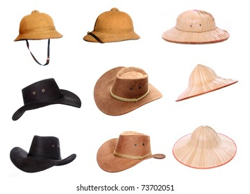 Collection of a helmets and hats for tropical destinations.