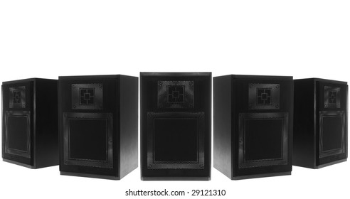 Collection of HIFI speakers. Isolated on White. White space at the top.