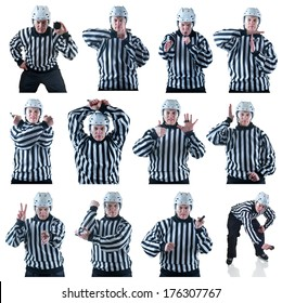 Collection of Hockey referee images with some penalty signals. On the white background