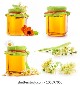 Collection of Honey in glass jar with flowers isolated on white background