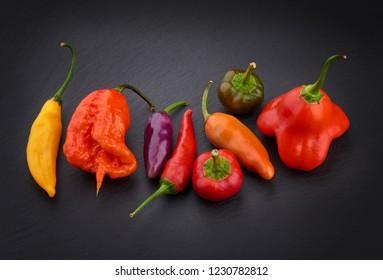 Collection of hot chilli peppers on black background - Lemon drop, Carolina reaper, Bolivian rainbow, Satan tears, Satan drops, Bishop crown