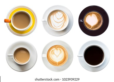 Collection of hot latte coffee in white cup. Isolated on white background. Saved with clipping path