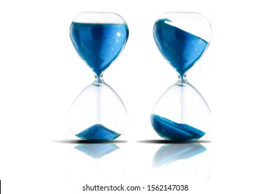 Collection of hourglasses on white background