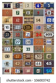 Collection of House numbers one to fifty