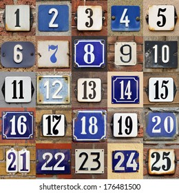 Collection of House numbers one to twenty-five
