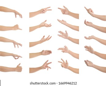 Collection of human hands in multiple gesture isolated on white background with clipping path.