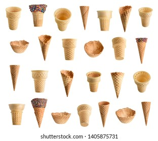Collection of ice cream cones with chocolate and sprinkles isolated on white background