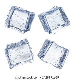 Collection of ice cubes, isolated on white background