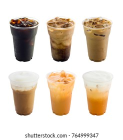 Collection of iced coffee drinks isolated on white background