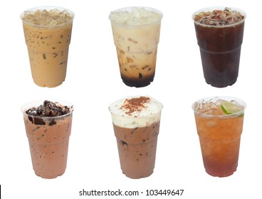 Collection of iced drinks isolated on white background