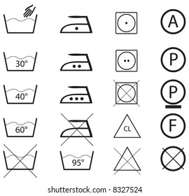Collection of icons which can be found on cloth labels.