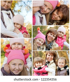 Collection of image with happy family while autumn
