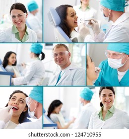 Collection of images of dentists at work