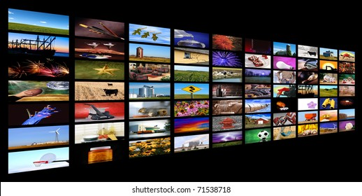 Collection of images forming the appearance of tv monitors falling of in the distance with black background, all images shot by me