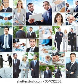 Collection of images with modern business people