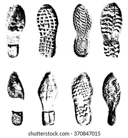Collection  imprint soles shoes  black  silhouette. illustration.