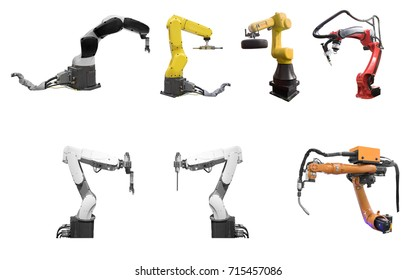 collection of Industry automated robot arm in production line of smart factory isolated on white background with clipping path