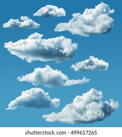 collection of isolated clouds with clipping paths