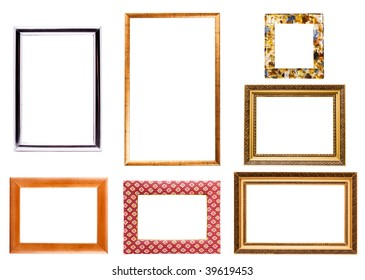 Collection of isolated empty picture frames on white background