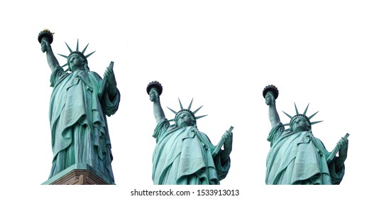 Collection of isolated lady liberty on white background, New York, USA