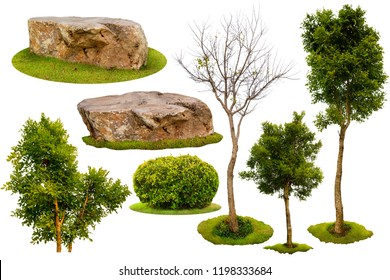Collection of Isolated Trees and rocks on white background