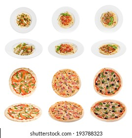Collection of italian pasta and pizza  isolated on white background