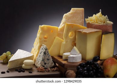 Collection of Italian, Swiss, English, French and Holland cheeses