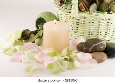 Collection of items with potpourri, candle and stones