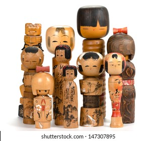 Collection of Japanese wooden souvenirs - Kokeshi dolls
